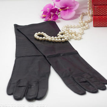 Black Leather Gloves: 60's Vintage Sibley's Real Kid Leather Long Gloves, Very Soft Genuine Leather Women Gloves, Small to Extra Small Size