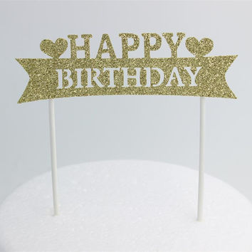 Gold Silver Glitter Happy Birthday Party Cake toppers decoration for kids birthday party favors Baby Shower Decoration Supplies