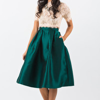 Lucille Green Shiny Full Midi Skirt