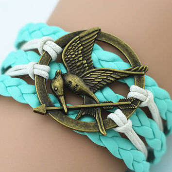 Combined Bracelet, Antiqued Bronze Mockingjay Bracelet, Hunger Games Inspired Bracelet, Cream Braid Mint Green Wax Rope, Personalized Gifts