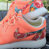 Floral Nike Roshe Run- Atomic Pink