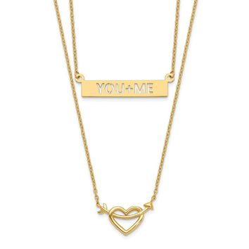14K Yellow Gold Two-Strand Polished Heart & You+ME Bar Necklace 17 Inch