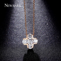 NEWBARK Classic Cross Design Pendant Necklaces 5Pcs AAA CZ Inlayed Women Necklace Rose Gold Color Fashion Jewelry Gifts