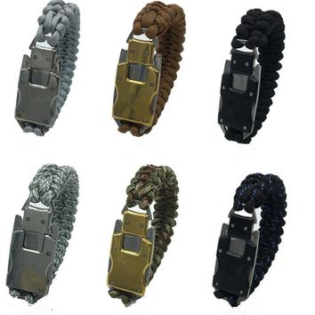 Outdoor Survival Paracord Bracelet With Emergency Rope Tactical Tool EDC Gear Multifunction Paracord Bracelet For Camping Hiking