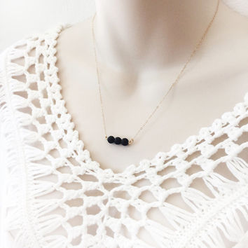 "Minimalist Triple Lava Bead Dainty Diffuser Necklace - 18"" 14k Gold Filled - Essential Oil Necklace Diffuser Aromatherapy, Black"