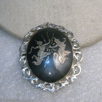 "Vintage Sterling Silver Siam Brooch, Filigree Frame, Two Goddesses, 2"" tall, 10.99 gr., 1940's."