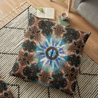 'AI's eye geometric digital art pattern ' Floor Pillow by Linandara