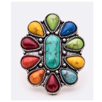 Mixed Stone Floral Western Ring