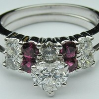 Engagement Ring - Heart Diamond Engagement Ring Ruby gem stones accents & Matching Wedding Ring - ES376HSBSWG