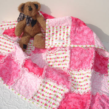 Baby Girl Rag Quilt Blanket Throw - Pink, White, Flannel - Flowers, Hearts, Stars
