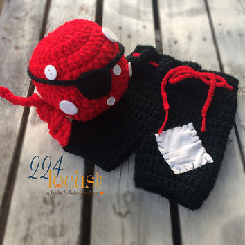 Pirate, Pirate Hat and Pants Set, Baby Pirate, Pirate Costume, Photo Prop, Photography Prop, Baby Shower Gift, Halloween Costume,