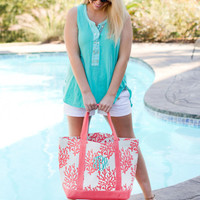 Monogrammed Canvas Tote Large Monogram Tote Large Monogrammed Purse Large Monogram Beach Bag Monogrammed Bag Coral Monogram Bag