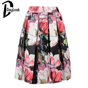 DayLook Summer Style Floral Print Vintage Pleated Skater Midi Skirt Fashion 2017 High Waist Ball Gown Women Skirt Elegant Saia