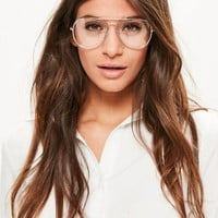 Missguided - Gold Clear Lens Aviator Glasses