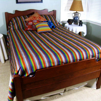 Colorful Rainbow Queen Duvet Cover - Authentic African Kente Cloth