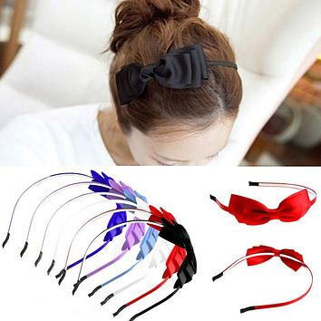 Women Lady Girl Big Bowknot Ribbon Hair Accessory Headband Bow Head Band Clip