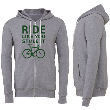 ride like you stole it - bicycle Zipper Hoodie