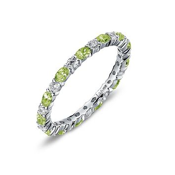 Lafonn Birthstone Sterling Silver Platinum Plated Lassire AUGUST Ring (Appx : 2.34 cttw Peridot Appx 1.95 cttw)