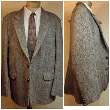 70s Men's Harris Tweed Scottish Wool Gray  Sport Coat   Size 40R