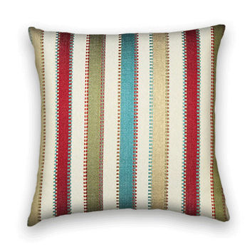 Beautiful Decorative Pillow Cover --Contemporary Throw Pillow--Candy Colored Stripes- -Aqua, Red, Cream, Gold, Green.