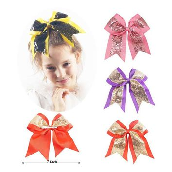 "7"" Big Sequin Cheer Bows Handmade Bling Girl's Cheerleading Hair Bow With Clips Hair Accessories For Girls Barrettes"
