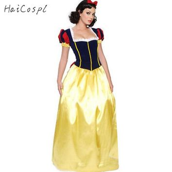Plus Size XXL Adult Snow White Costume Carnival Halloween Costumes for Women Fairy Tale Princess Cosplay Female Long Dress