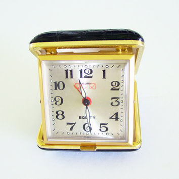 Vintage Equity Travel Alarm Clock, Faux Black Alligator Case