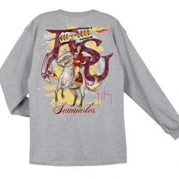 NCAA Florida State Seminoles Grey Long Sleeve Guy Harvey