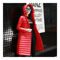 Hooded Thin Light Middle Long Down Coat Slim Woman   red    S