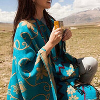Aoki Fashion - Autumn Winter Tibet Nepal Sunflowers Thick Shawl Scarf