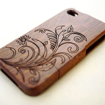 Mahogany Floral Wood iPhone 4s Case - Custom iPhone 4 Case - iPhone 4s Phone Cases - Wooden iPhone 4 4s Case - iPhone 4 4S Case Wood - Gift