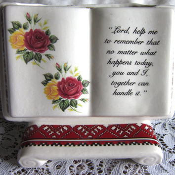 Vintage Ukrainian Ceramic Bible Vase with Prayer Blessing, Collectible Ukrainian Ceramic Ware, Red and White Traditional Pattern Ceramic