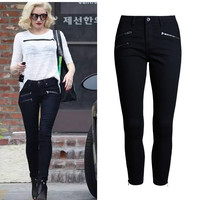 New Women Ankle-Length Low Waist Solid Elastic Stretch Pencil Jeans Elegant Skinny European American Styles Denim Zippers Jeans