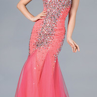 Sweetheart Neckline Strapless Coral Mermaid Prom Gown