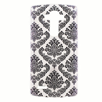 LG G4 Case Cover Damask Pattern Soft Clear Plastic LG Back Cover Black Henna Geometric Tribal Case G4 Black Snap On Case Slim Vintage 138