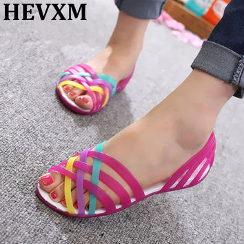 HEVXM Women Sandals 2017 Summer New Candy Color Peep Toe Beach Valentine Rainbow Jelly Shoes Woman Wedges Sandals