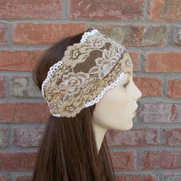 Bohemian Hair Accessories Buff Wide Lace Headband Headwrap Bohemian Hair Wrap Beige Boho Head Wrap Stretch Lace Headband by Forever Andrea