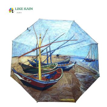 LIKE RAIN 2017 New Romantic Rose Flower Umbrella Rain Women Beach Umbrellas Creative Oil Painting Sunshade Anti-UV Parasol YHS07
