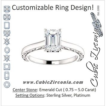 Cubic Zirconia Engagement Ring- The Salome (Customizable Emerald Cut Solitaire featuring Band Filigree)