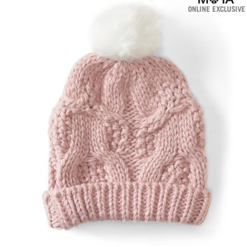 Aeropostale  Cable-Knit Pom Hat - Black, One