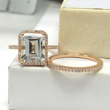 8x10mm White Topaz Wedding Ring Set 14K Rose Gold!Diamond Wedding Band,Bridal Ring,Emerald Cut VS Natural Gemstone, Eternity Matching Band