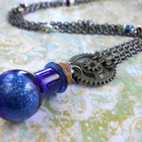 Steampunk Mana Potion Necklace Glass Bottle Magician Magic Fantasy Jewelry Gear Necklace