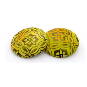 Yellow-Green and Orange Button Earrings // Batik Fabric // Gifts under 25 // Oversized Stud Earrings
