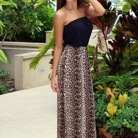 Black and Leopard Strapless Maxi Dress