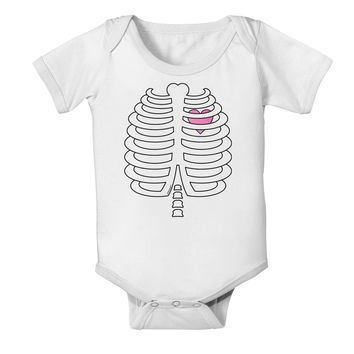 Skeleton Ribcage with Pink Heart Halloween Baby Romper Bodysuit