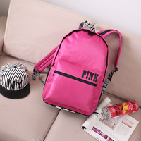 Pink College Back To School Comfort Casual Simple Design Waterproof Korean Backpack [11728286095]