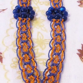 50% OFF SALE! Blue Flower Glass Pendant Eight Strand Alternating Square Knot Orange & Blue Hemp Necklace