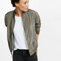 Silver Bomber Jacket from EXPRESS