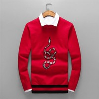 GUCCI autumn and winter long-sleeved embroidered coral snake men's striped hem round neck sweater Red