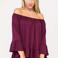 Ruffle 3/4 Sleeve Off The Shoulder Top